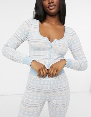 ASOS DESIGN fair isle button down top & leggings pyjama set in blue & cream