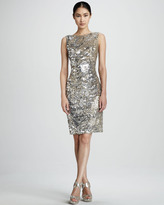 David Meister Cutout Sequined Cocktail Dress