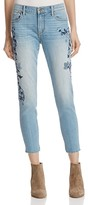 Aqua Floral Skinny Crop Jeans in Medium Blue - 100% Exclusive