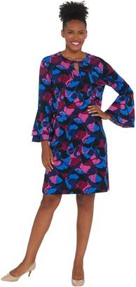 Du Jour Floral Printed Flounce Sleeve Split V-Neck Knit Dress