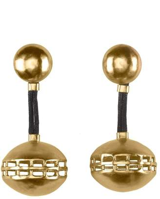 Natori Gold Brass Cage Round Earrings