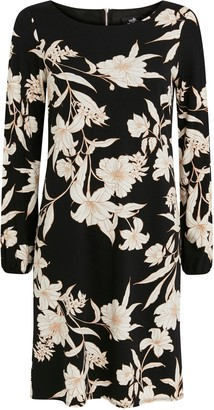 Wallis **TALL Black Floral Print Shift Dress