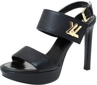 Louis Vuitton Black Leather Horizon Sandals Size 38.5