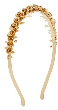 Rosantica Lirica Rose And Crystal Headband - Womens - Gold