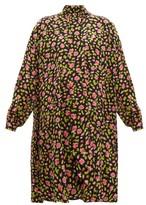 Balenciaga Rose-print Silk-crepe Dress - Womens - Black Multi