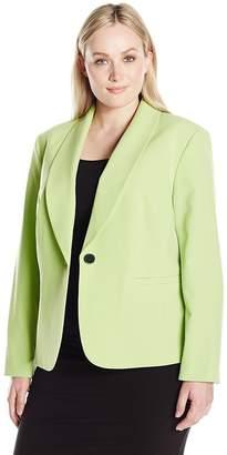 Nine West Women's Plus Size 1 Button Crepe Shawl Collar Jacket