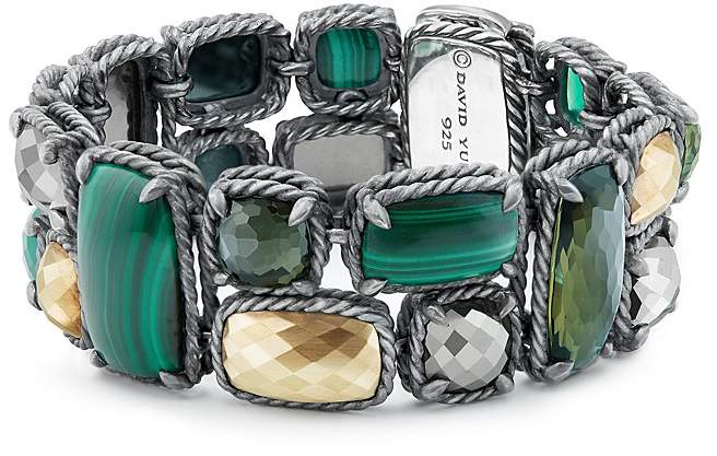 David Yurman Ch'telaine Mosaic Bracelet with 18K Gold Domes, Green Onyx, Pyrite, Lemon Citrine with Hematine & Malachite