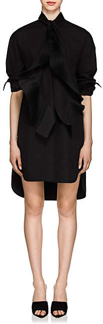 Givenchy Women's Pleated Cotton Oversized Tieneck Shirtdress - Black