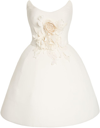 Oscar de la Renta Embellished Crepe De Chine Mini Dress