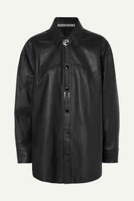 Alexander Wang Embellished Leather Shirt - Black