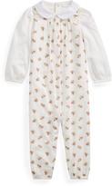 Ralph Lauren Childrenswear Cotton Voile Floral Overalls w/ Peter Pan Collar Bodysuit, Size 6-24 Months