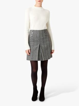 Hobbs Joy Check Wool Skirt, Black/Ivory