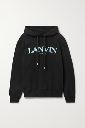 Lanvin - Embroidered French Cotton-terry Hoodie - Black