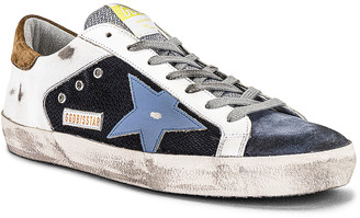 Golden Goose Superstar Net & Leather Upper Leather Star Suede Heel in Black & White & Grey & Powder Blue & Elk Brown | FWRD