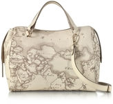 Alviero Martini Medium Geo Safari Coated Canvas Satchel Bag w/Cream Leather Details