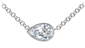 Forevermark Tribute Collection Pear Diamond (1/2 ct. t.w.) Necklace with Mill-Grain in 18k Yellow, White and Rose Gold