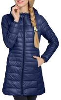 Lukitty Women's Hooded Packable Down Coat Lightweight Long Puffer Jacket Parka L
