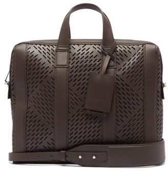 Bottega Veneta Laser-cut Leather Briefcase - Mens - Brown