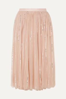 Needle & Thread Sequin-embellished Tulle Midi Skirt - Pink