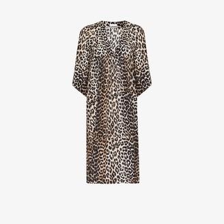 Ganni Leopard Print Cotton Silk Midi Dress