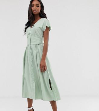 Y.A.S Tall button through maxi dress-Green