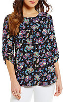 Bobeau Paisley Crew Neck 3/4 Sleeve Print Pleat Back Tunic
