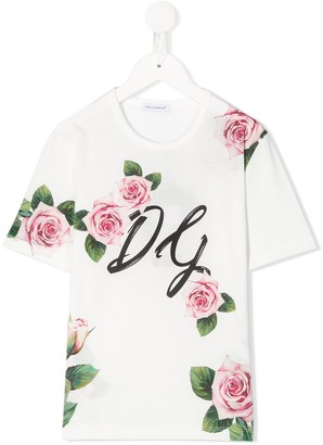 Dolce & Gabbana rose crew neck T-shirt