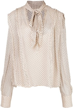 Jason Wu Collection Polka Dot Tied Blouse