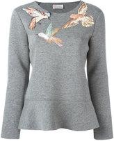 RED Valentino embroidered bird sweatshirt - women - Cotton/Silk/Polyurethane/Polyester - XS