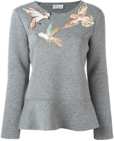 RED Valentino embroidered bird sweatshirt - women - Silk/Cotton/Polyester/Polyurethane - XL