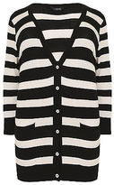Yours Clothing YoursClothing Plus Size Womens Ladies Jumper Cardigan Top Stripe Belted