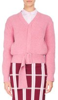 Victoria Beckham Ribbed Wool Faux-Cardigan Sweater with Belt, Pink
