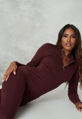 Missguided Burgundy Msgd Zip Long Sleeve Loungewear Top