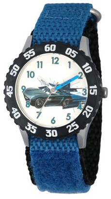 Disney Cars 3 Jackson Storm Boys' Stainless Steel Time Teacher Watch, Black Bezel, Blue Hook and Loop Nylon Strap with Black Backing