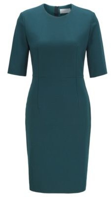 HUGO BOSS Shift Dress In Houndstooth Structured Jersey With Zip - Dark Green