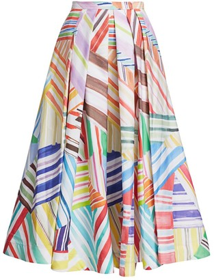 Rosie Assoulin Pleated Printed A-Line Skirt