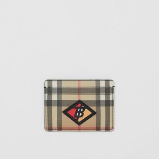 Burberry Logo Graphic Vintage Check E-canvas Card Case