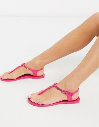 Love Moschino jelly flat sandals in pink