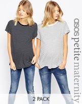 Asos PETITE Easy T-Shirt In Stripe 2 Pack