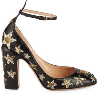 Valentino Garavani Sequin-Embellished Leather Ankle-Strap Pumps