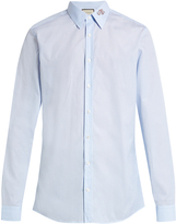 Gucci Snake-collar pinstriped button-cuff shirt