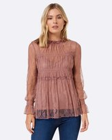 Forever New Lina Lace High Neck Shirred Sleeve Shirt