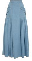 Carolina Herrera Pleated Midi Denim Skirt