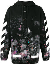 Off-White diagonal stripe print galaxy hoodie