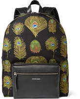 Alexander McQueen Leather-Trimmed Peacock Jacquard Backpack