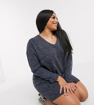 Brave Soul Plus moss slouchy pocket sweater dress