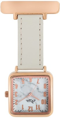 Bermuda Watch Company Annie Apple Square Rose Gold & Marble Grey Leather Nurse Fob Watch