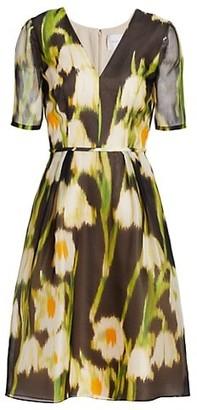 Carolina Herrera Floral Silk Fit-&-Flare Dress