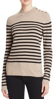 Aqua Cashmere Stripe Mock Neck Cashmere Sweater