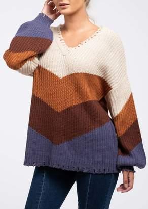 Blu Pepper Colorblock Chevron Fringe Trim Knit Sweater